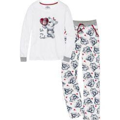 Piżama z aplikacją z flaneli bonprix biel wełny - ciemnoniebieski z nadrukiem. Białe piżamy damskie bonprix, z aplikacjami, z wełny. Za 79,99 zł.