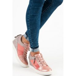Czółenka: KYLIE modne sneakersy na koturnie różowe