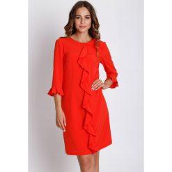 Sukienki: Czerwona sukienka z rękawem 3/4  BIALCON