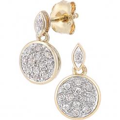 Złote kolczyki-wkrętki z diamentami. Żółte kolczyki damskie REVONI, z diamentem, złote. W wyprzedaży za 646,95 zł.