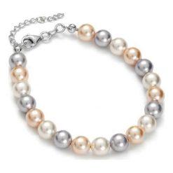 Bransoletki damskie: Bransoletka w kolorze biało-szaro-łososiowym z pereł