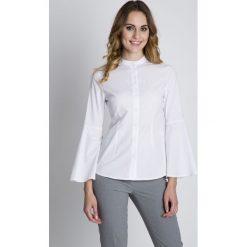 Biała oryginalna koszula z luźnymi rękawami BIALCON. Białe koszule męskie na spinki BIALCON, z bawełny, ze stójką. W wyprzedaży za 139,00 zł.