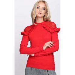 Czerwony Sweter Hold On Hope. Czerwone swetry klasyczne damskie Born2be, l, z falbankami. Za 59,99 zł.