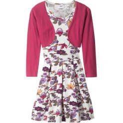 Sukienki dziewczęce: Sukienka + bolerko (2 części) bonprix biel wełny – jeżynowy czerwony