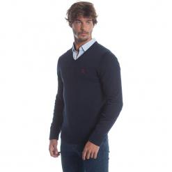 Sweter w kolorze granatowym. Niebieskie swetry klasyczne męskie marki Polo Club Men, m, z haftami, z bawełny. W wyprzedaży za 173,95 zł.