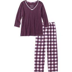 Piżamy damskie: Piżama bonprix czarny bez – biel wełny