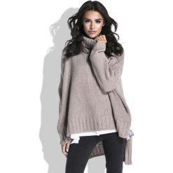 Mocca Sweter z Szerokim Golfem. Szare swetry oversize damskie Molly.pl, uniwersalny, ze splotem. Za 149,90 zł.