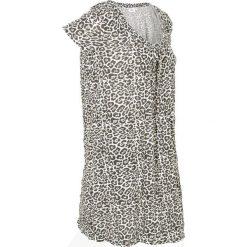 Długa tunika z kreszowanego materiału + legginsy 3/4 bonprix w cętki leoparda. Szare tuniki damskie marki bonprix, z okrągłym kołnierzem, z długim rękawem. Za 49,99 zł.
