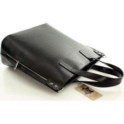 Shopper bag damskie: Skórzana czarna Torebka Shopperka SARITA