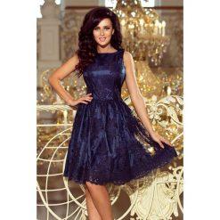 DORLIN Ekskluzywna rozkloszowana sukienka - GRANATOWY HAFT. Niebieskie sukienki na komunię numoco, l, z haftami, rozkloszowane. Za 339,98 zł.