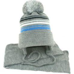 Czapka dziecięca z szalikiem CZ+S 018D szaro-niebieska r. 46-50. Niebieskie czapeczki niemowlęce Proman. Za 45,25 zł.