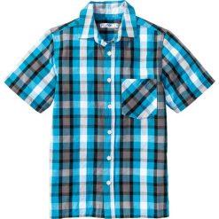 Koszula z krótkim rękawem i nadrukiem bonprix turkusowo-czarny w kratę. Białe bluzki dziewczęce z krótkim rękawem marki bonprix, z klasycznym kołnierzykiem. Za 37,99 zł.