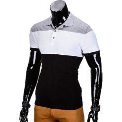 KOSZULKA MĘSKA POLO BEZ NADRUKU S833 - SZARA/CZARNA. Czarne koszulki polo marki Ombre Clothing, m, z bawełny, z kapturem. Za 39,00 zł.