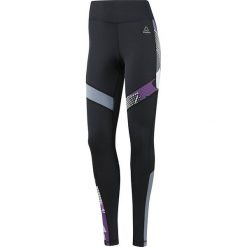 Legginsy do biegania damskie REEBOK RUNNING ESSENTIALS TIGHT / BQ5540 - REEBOK RUNNING ESSENTIALS TIGHT. Szare legginsy we wzory marki Reebok, l, z dzianiny, bez kaptura. Za 139,00 zł.