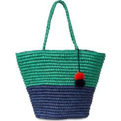 Torba plażowa shopper, dwukolorowa, z pomponami bonprix ciemnoniebiesko-zielony miętowy. Zielone torby plażowe marki bonprix, w kropki, z kopertowym dekoltem, kopertowe. Za 37,99 zł.