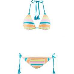 Bikini z trójkątnymi miseczkami (2 części) bonprix jasnoróżowo-turkusowo-żółto-pomarańczowo-złoty. Białe bikini bonprix, w paski. Za 59,99 zł.