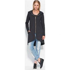 Bluzy rozpinane damskie: Asymetryczna Czarna Długa Bluza z Kapturem