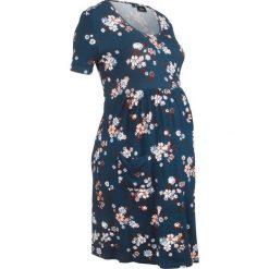 Sukienka ciążowa shirtowa bonprix ciemnoniebieski w kwiaty. Niebieskie sukienki ciążowe marki DOMYOS, z elastanu, street, z okrągłym kołnierzem. Za 59,99 zł.