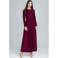 Bordowa Zwiewna Sukienka Maxi z Podkreślona Talią. Czerwone długie sukienki marki Molly.pl, na co dzień, l, z dekoltem w łódkę, proste. Za 149,90 zł.