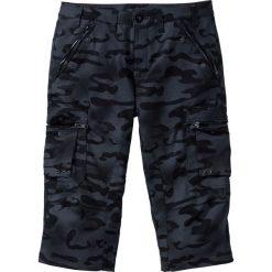 Spodnie bojówki 3/4 Straight Fit bonprix czarny moro. Czarne bojówki męskie marki bonprix, moro. Za 129,99 zł.