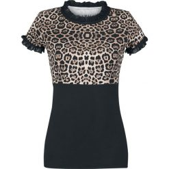 Rock Rebel by EMP Peggy Sue Koszulka damska cętki (lampart). Czarne bluzki z falbaną marki Rock Rebel by EMP, xl, z nadrukiem, rockowe, z falbankami. Za 144,90 zł.