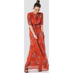 Trendyol Sukienka maxi z marszczonym rękawem - Orange. Szare długie sukienki marki Trendyol, na co dzień, z elastanu, casualowe, dopasowane. Za 283,95 zł.