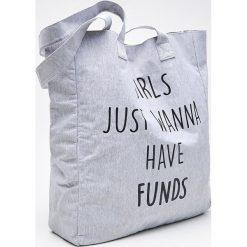Torby i plecaki: Materiałowa torba z napisem - Jasny szary