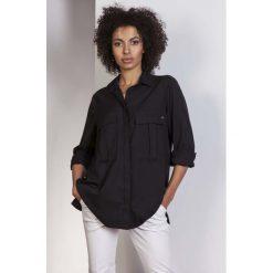 Czarna Koszula Oversize z Kieszeniami. Czarne koszule jeansowe damskie marki Molly.pl, l, biznesowe, z długim rękawem. Za 118,90 zł.