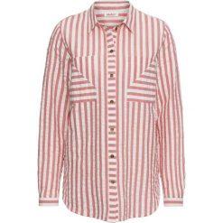 Bluzka z kory, długi rękaw bonprix różowo-biały. Zielone bluzki longsleeves marki bonprix, w kropki, z kopertowym dekoltem, kopertowe. Za 44,99 zł.