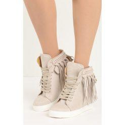 Beżowe Sneakersy Laverne. Brązowe sneakersy damskie Born2be, z materiału. Za 69,99 zł.