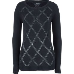 Sweter w ażurowy wzór bonprix czarny. Czarne swetry klasyczne damskie bonprix. Za 37,99 zł.