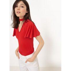 Gładka koszulka z okrągłym wycięciem szyi i krótkim rękawem. Czerwone bluzki z odkrytymi ramionami La Redoute Collections, m, z elastanu, z okrągłym kołnierzem, z krótkim rękawem. Za 83,96 zł.