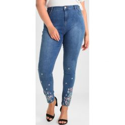 Boyfriendy damskie: Dorothy Perkins Curve FLORAL EMBROIDED FRONT AND BACK Jeans Skinny Fit blue denim