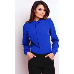 Bielizna damska: Kobaltowa Elegancka Klasyczna Koszula z Krytym Zapięciem