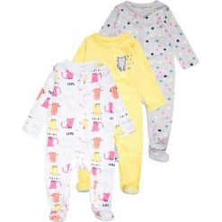 Mothercare GIRLS CAT SLEEPSUITS BABY 3 PACK Piżama pink. Niebieskie bielizna chłopięca marki mothercare, z bawełny. Za 129,00 zł.