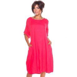 """Sukienki hiszpanki: Lniana sukienka """"Sarah"""" w kolorze koralowym"""