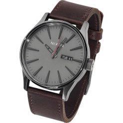 Zegarki męskie: Nixon Sentry Leather - Gunmetal / Black / Dark Brown Zegarek na rękę ciemnobrązowy