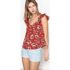Bluzki damskie: Koszulka z falbanką, nadruk w kwiaty