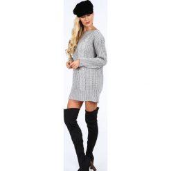 Szary długi sweter oversize 0207. Szare swetry oversize damskie Fasardi. Za 89,00 zł.