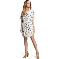 ADANA Sukienka koszulowa - ecru. Szare sukienki mini marki Moe, s, z tkaniny, z koszulowym kołnierzykiem, koszulowe. Za 169,00 zł.