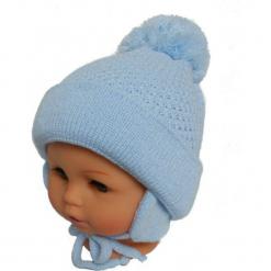 Czapka niemowlęca z szalikiem CZ+S 003A. Niebieskie czapeczki niemowlęce Proman. Za 36,70 zł.