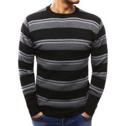 Swetry klasyczne męskie: Sweter męski w paski czarny (wx1012)