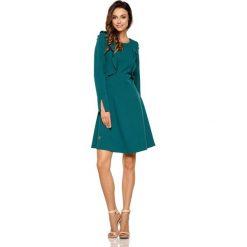 Ciemno Zielona Rozkloszowana Sukienka z Pionowymi Falbankami. Czerwone sukienki na komunię marki bonprix. Za 158,90 zł.