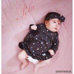 Sukienka grafit MY HEARTS (bez opaski). Różowe sukienki dziewczęce Pakamera, z bawełny, z długim rękawem, długie. Za 93,00 zł.