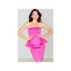 Sukienka K283 Fuksja. Czerwone sukienki na komunię marki KATRUS, na wesele, m, z gorsetem, midi, baskinki. Za 139,00 zł.