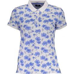 Bluzki damskie: Koszulka polo w kolorze biało-niebieskim