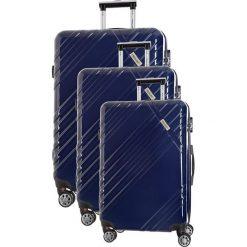 Zestaw walizek w kolorze granatowym - 3 szt. Niebieskie walizki marki Travel One, z materiału. W wyprzedaży za 619,95 zł.