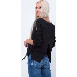 Bluzy rozpinane damskie: Bluza z kopertowym tyłem czarna 1554
