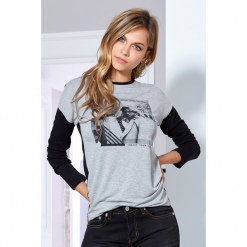 Damska bluzka Florinda szara. Szare bluzki asymetryczne Astratex, z nadrukiem, z elastanu, eleganckie. Za 63,99 zł.