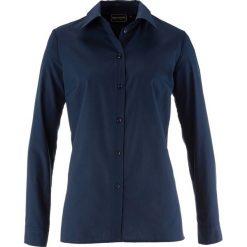 Bluzka bonprix ciemnoniebieski. Niebieskie bluzki asymetryczne bonprix, klasyczne, z klasycznym kołnierzykiem, z długim rękawem. Za 44,99 zł.